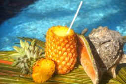 Restaurant Ypsylon Resort - Fruchtsauce mit Vanilleeis, serviert in einer halben Ananas